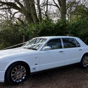 White Bentley Arnage for hire throughout Essex