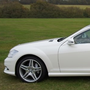 Our stunning white Mercedes S Class